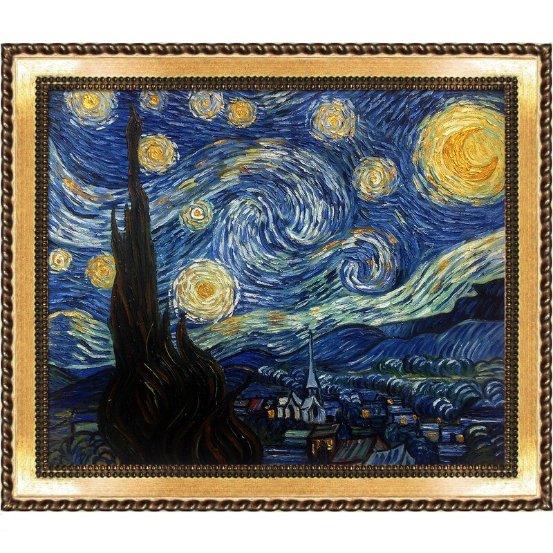 Perfect La Pastiche 'Starry Night' by Vincent Van Gogh Framed Oil Painting  AK91
