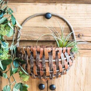 2 Piece Rustic Natural Tree Bark Picnic Basket Set