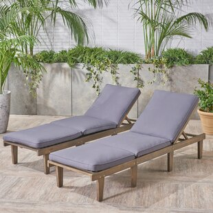 Reclining Chaise Lounge with Cushion (Set of 2)