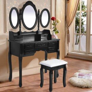 Astoria Grand Wilsonville Makeup Tri-Folding Vanity Set with Mirror
