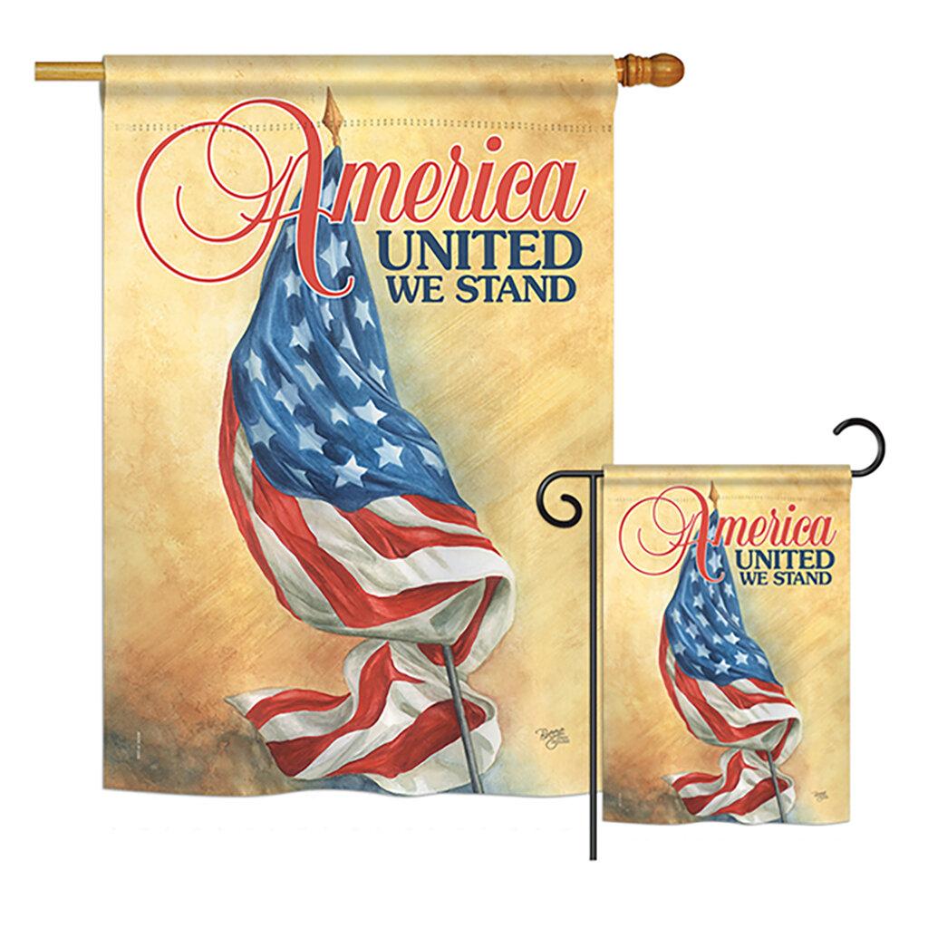 Breeze Decor America United Americana Patriotic Impressions 2 Sided Polyester 2 Piece Flag Set Wayfair
