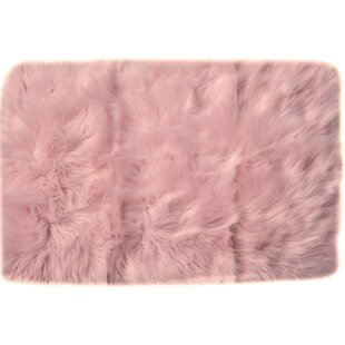 Charlotte Hand Woven Faux Sheepskin Light Pink Area Rug