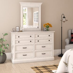 Laurel Foundry Modern Farmhouse Ryles 8 Drawer Double Dresser with Mirror