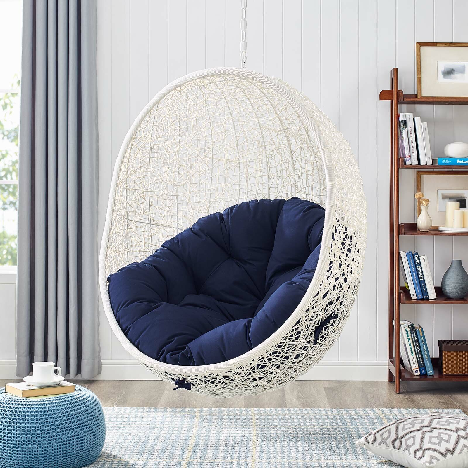 Picture of: Bayou Breeze Wisconsin Sunbrella Fabric Swing Outdoor Patio Lounge Chair Without Stand In White Navy Wayfair Ca