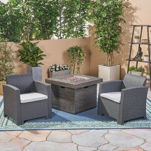 Helena Outdoor 3 Piece Rattan Sofa Seating Group with Cushions by Alcott Hill