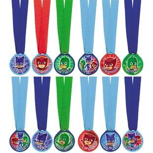 12 Piece PJ Masks Plastic Disposable Award Medals Set