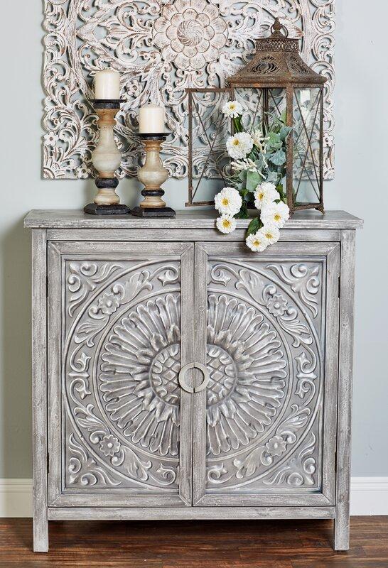 Ignazio Wood Flourished 2 Door Accent Cabinet by One Allium Way®
