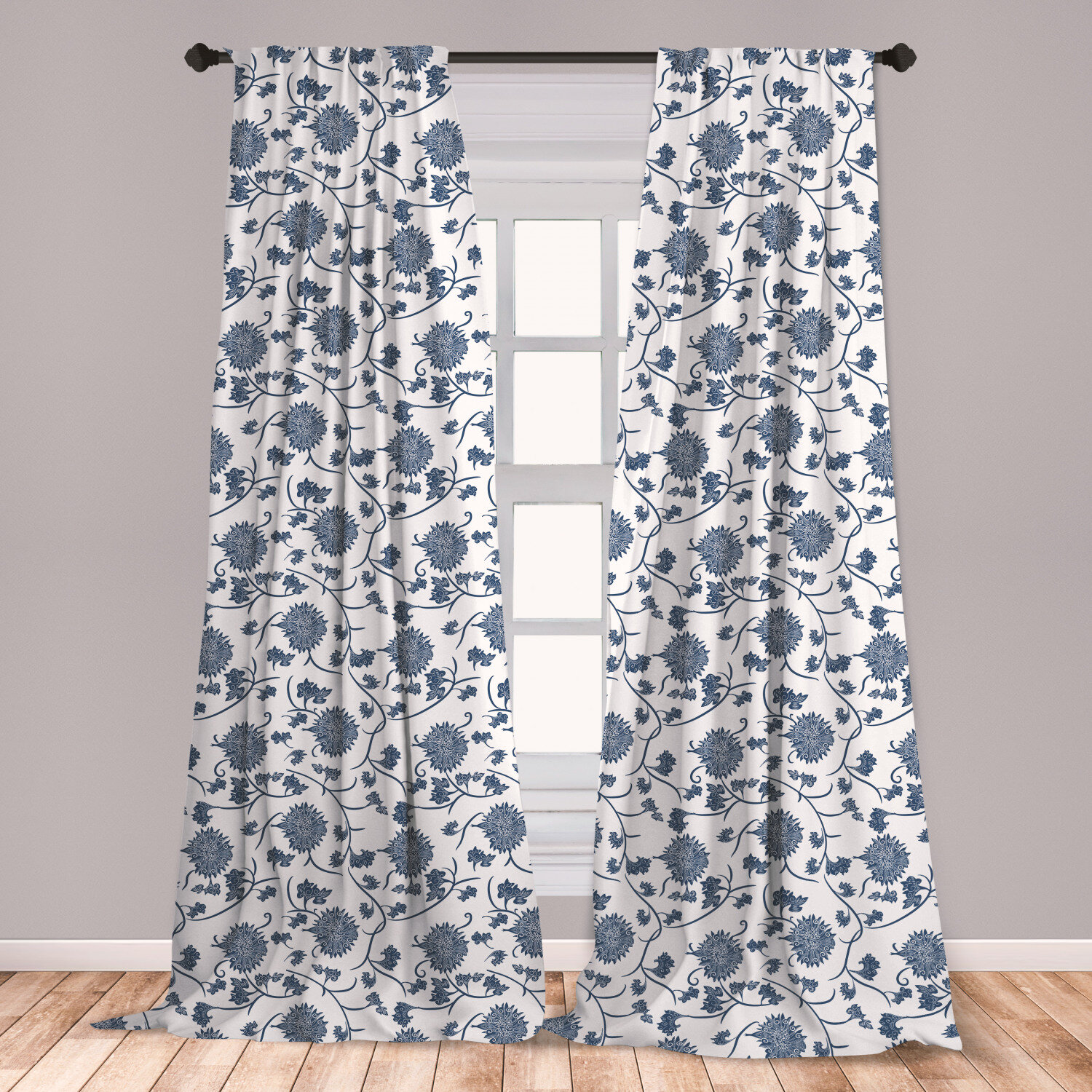 East Urban Home Ambesonne Blue Curtains Chinese Floral Garden Pattern Nature Inspirations With Traditional Ornament Design Window Treatments 2 Panel Set For Living Room Bedroom Decor 56 X 63 Blue White Reviews Wayfair