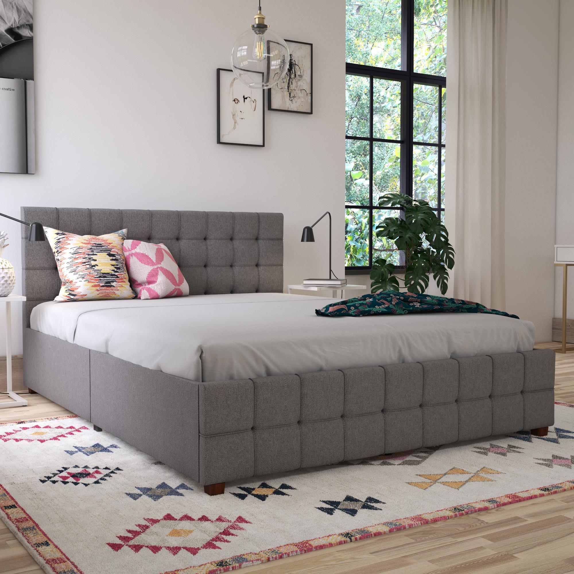 Cosmoliving By Cosmopolitan Elizabeth Tufted Upholstered Low Profile Storage Platform Bed Reviews