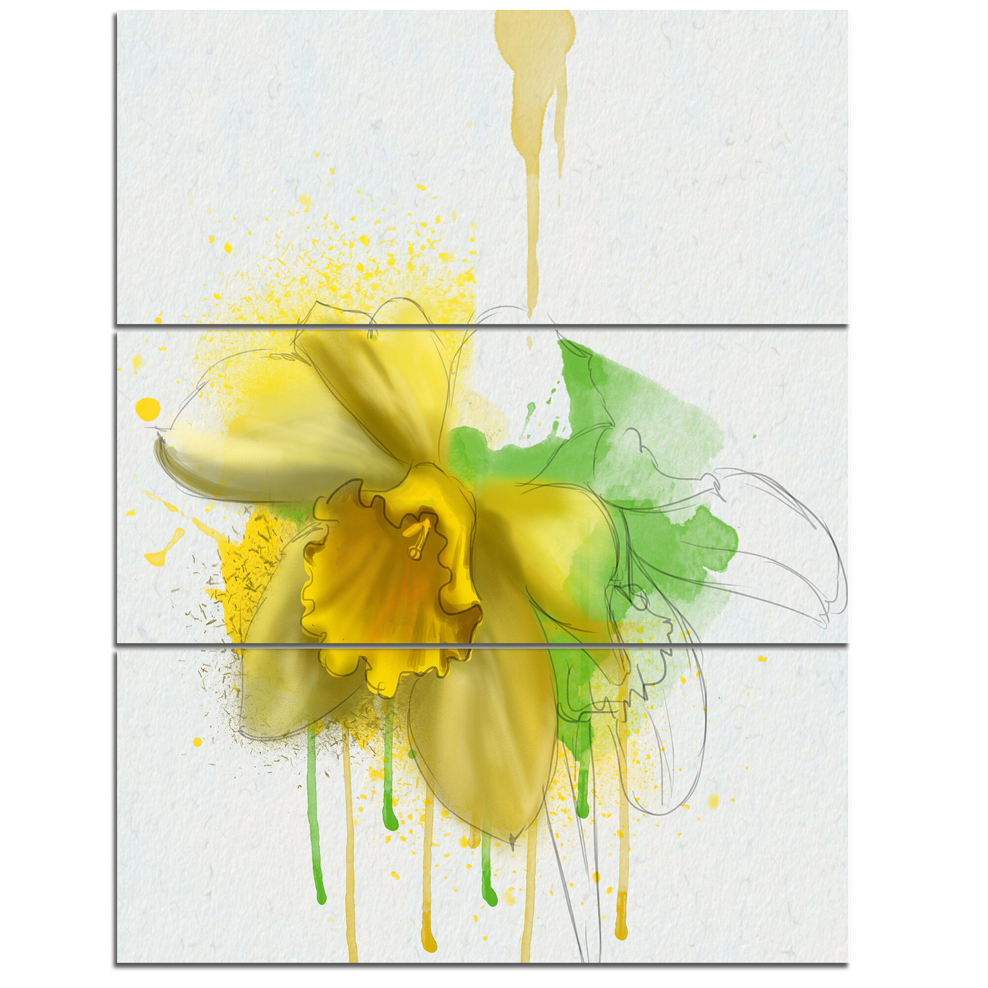 DesignArt \'Yellow Narcissus Flower Watercolor\' 3 Piece Wall Art on ...