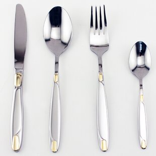 Straight 72 Piece Gold Flatware Set