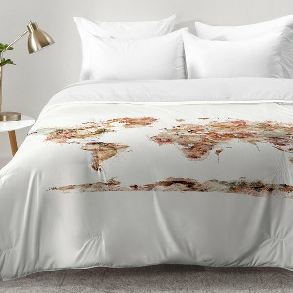 East Urban Home World Map Watercolor Comforter Set | Wayfair