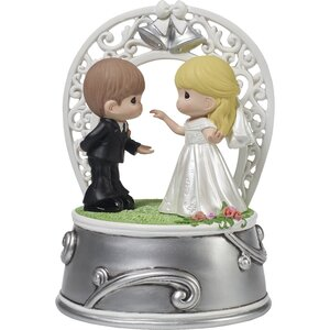 Bride and Groom Dancing Music Box Cake Topper