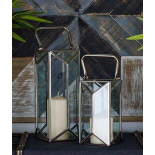 Big Save 2 Piece Glass and Metal Lantern Set By Cole & Grey
