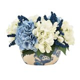 Faux Hydrangea & Heather Centerpiece in Chinoiserie