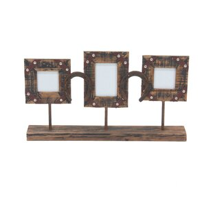 0266c8800c00 Bayonville Rustic 3-Opening Picture Frame with Stand (Set of 2)