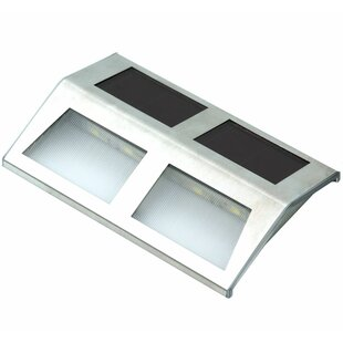 Freeport Park Clarkedale Stainless Steel Solar Security Mounted 2 Light Deck/Step/Rail Light