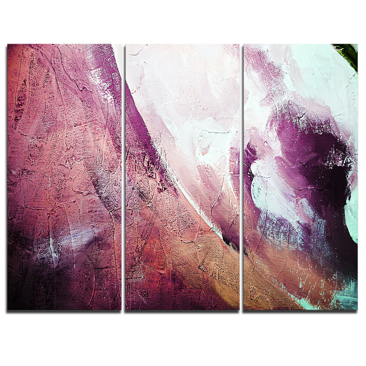 Designart White And Purple Texture 3 Piece Graphic Art On Wrapped Canvas Set Wayfair