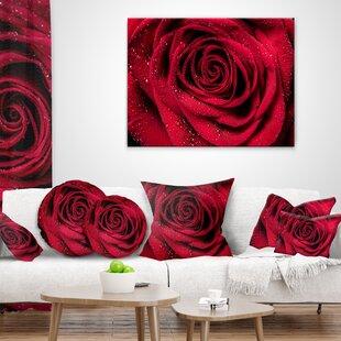Rose Petals with Rain Droplets Floral Pillow