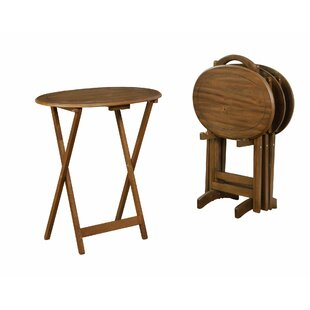 Miya Wooden Foldable Tray Table Set by August Grove