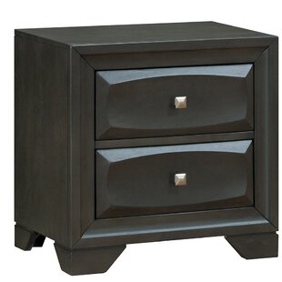 Main Transitional Wood 2 Drawer Nightstand
