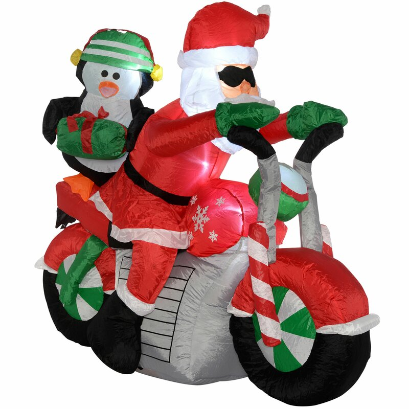 8232ccd9b2 The Seasonal Aisle Pre-Lit Inflatable Christmas Santa Motorcycle Lighted  Display with LED Light and Fan