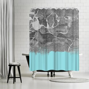 East Urban Home Emanuela Carratoni Crayon Marble With Light Blue Shower Curtain
