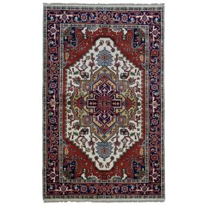 Roselle Hand Woven Wool Navy/Beige Area Rug