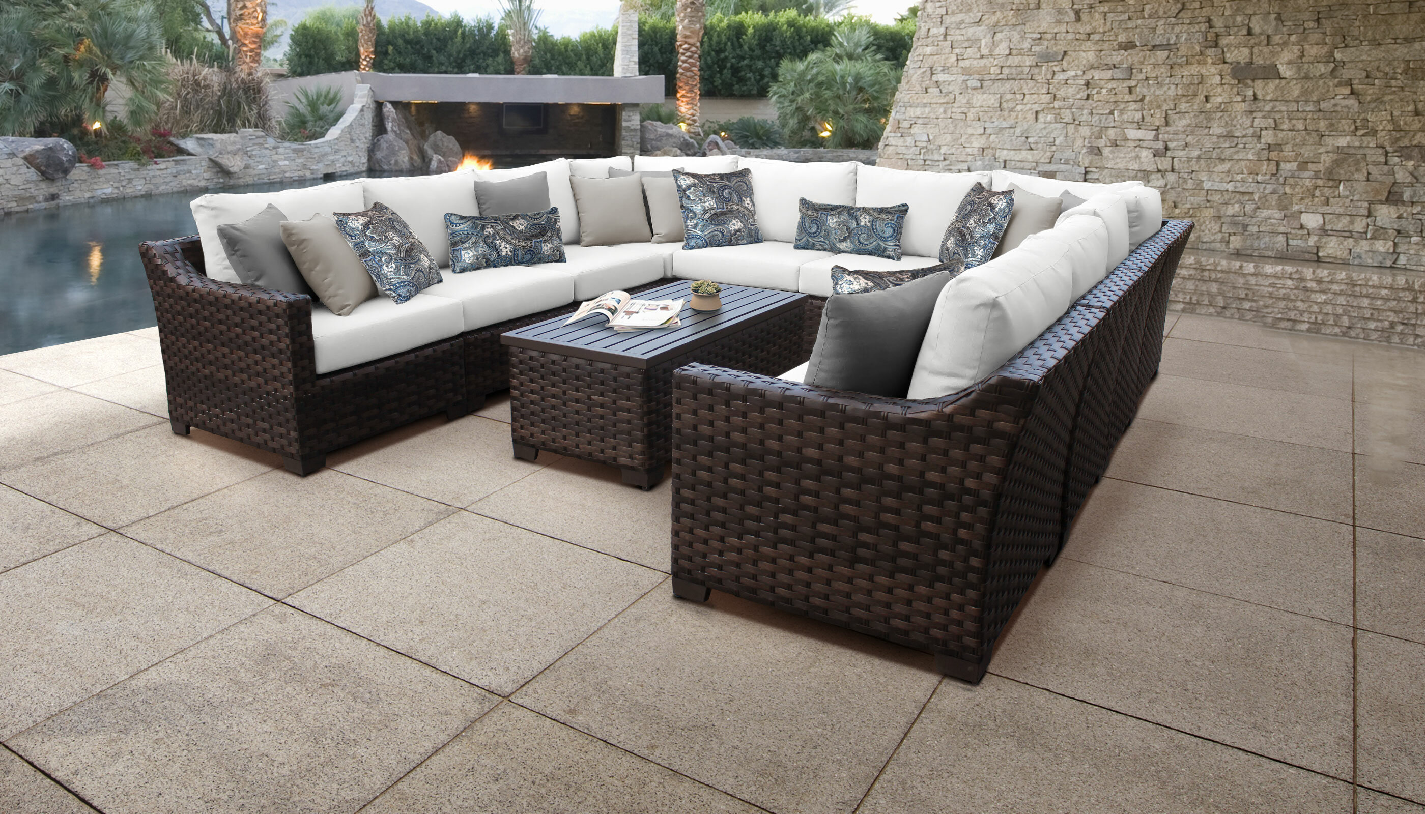 Kathy Ireland Homes Gardens By Tk Classics River Brook 11 Piece Rattan Sectional Seating Group With Cushions Wayfair