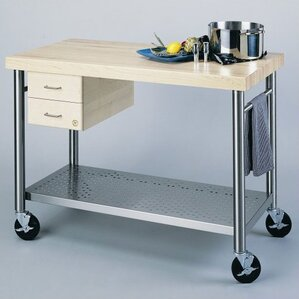Cucina Americana Prep Table with Wood Top by John Boos