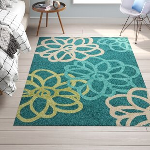 Chester Hand-Hooked Blue/Green Floral Indoor/Outdoor Area Rug by Trule Teen