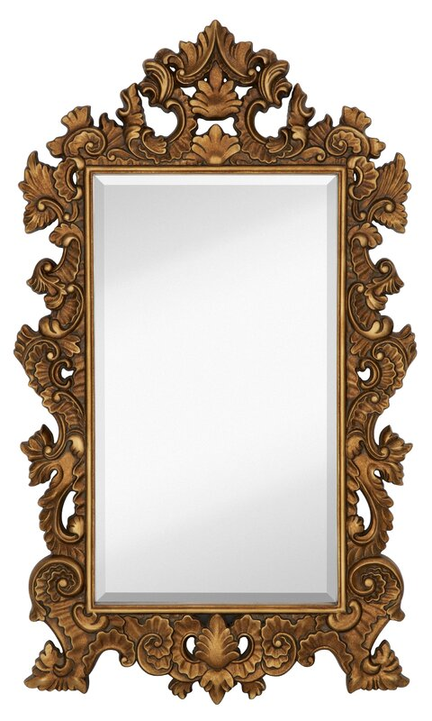 Tall Rectangle Traditional Accent Mirror with Decorative Antique Gold Leaf Frame