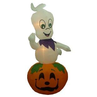 animated halloween inflatable ghost casper on pumpkin indooroutdoor decoration