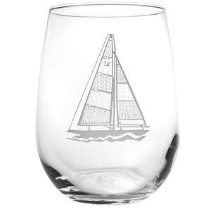 Sailboat 17 oz. Stemless Wine Glass (Set of 4)