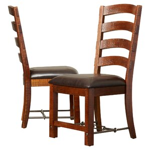 Waban Ladderback Genuine Leather Upholstered Dining Chair (Set of 2) by Loon Peak