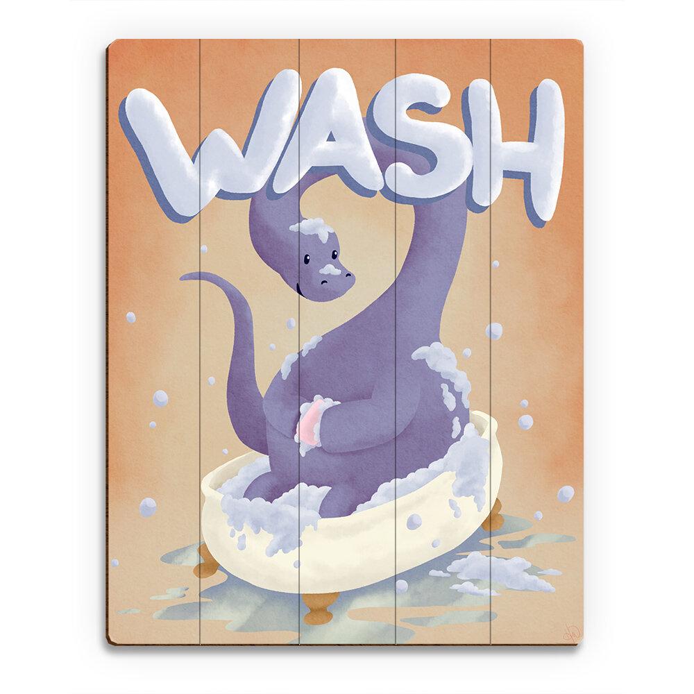 Click Wall Art Wood Slats Wash Dinosaur Graphic Art On Plaque Wayfair