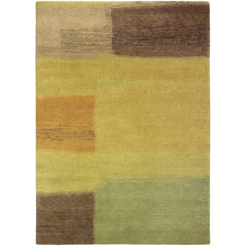 Bloomsbury Market Thelma Abstract Hand Knotted Wool Dark Yellow Burnt Orange Area Rug Wayfair