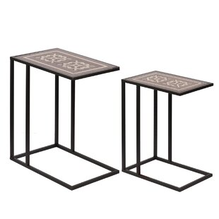 Mcgoldrick Raj Brass Inlaid 2 Piece Nesting Tables