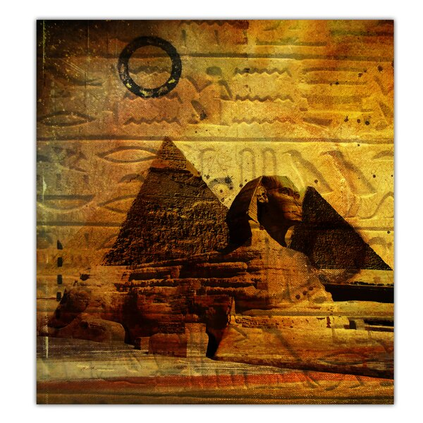 'Egyptian Pyramid' Graphic Art on Canvas in Brown/Gold