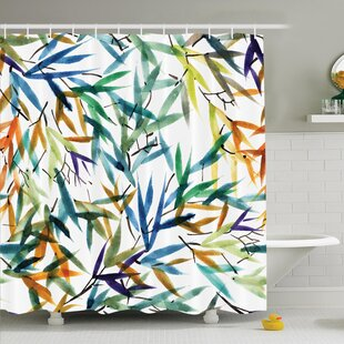Best Choices Traditional House Decorative Colorful Bamboo Leaves Hand Drawn Spiritual Plants Picture Shower Curtain Set By Ambesonne
