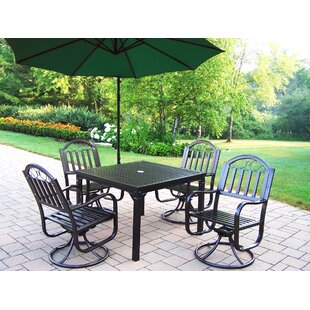 Lisabeth 5 Piece Swivel Dining Set with Umbrella
