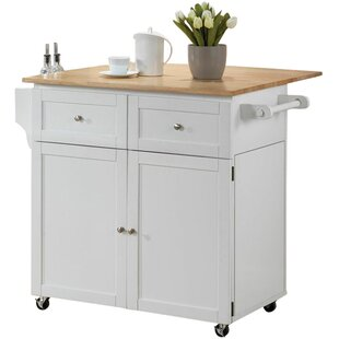 Carol Kitchen Island with Butcher Block Top