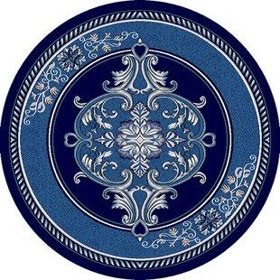 Ramsel 3D Handcarved Traditional Oriental Floral Power Loomed Navy Blue Area Rug ByAstoria Grand