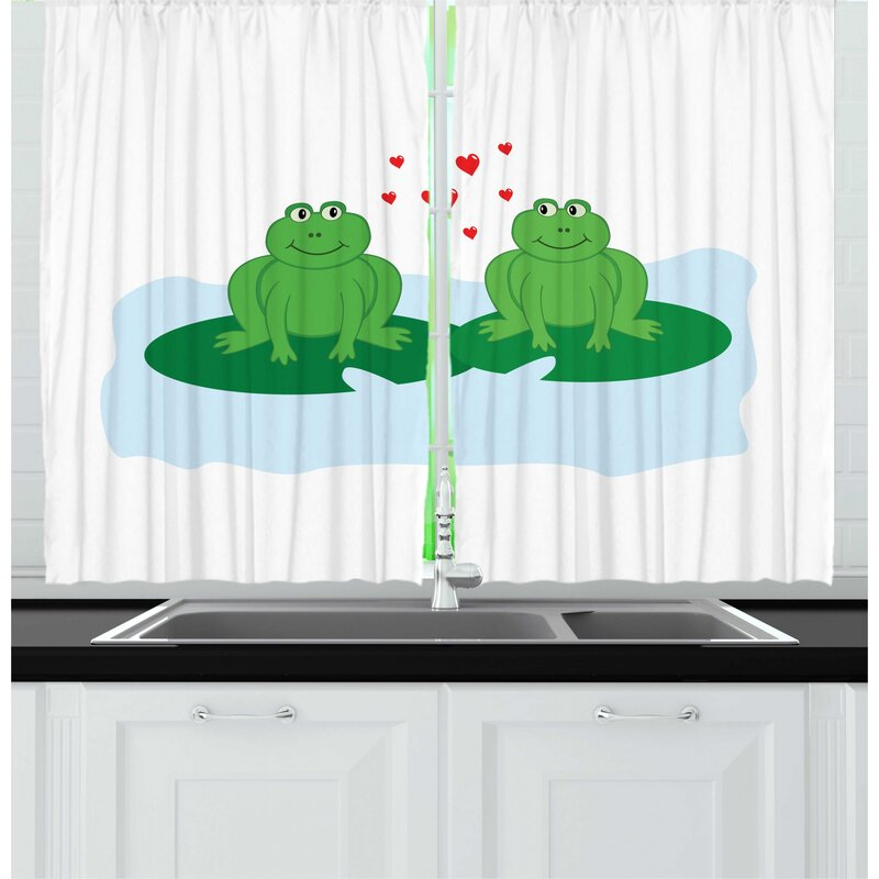 East Urban Home 2 Piece Love Frogs In Romance On Lake Leaves Cartoon Pattern On Plain Backdrop Print Kitchen Curtain Set Wayfair