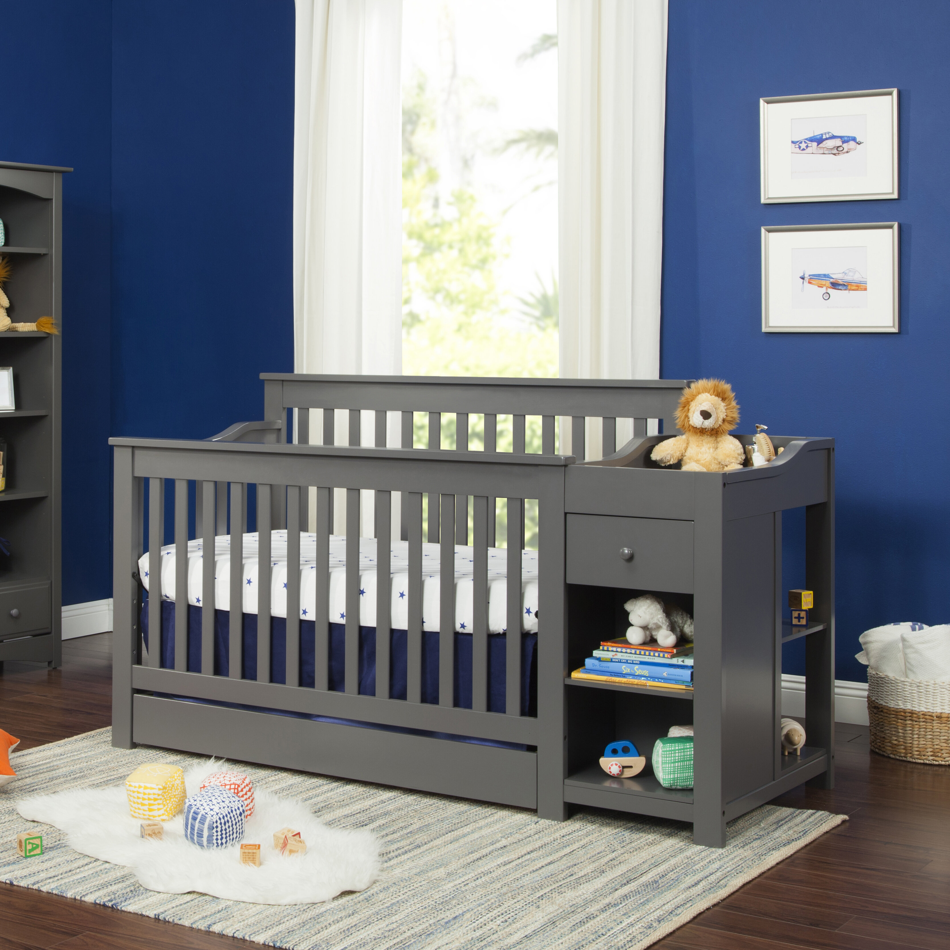 Piedmont 3-in-1 Convertible Crib and Changer with Storage