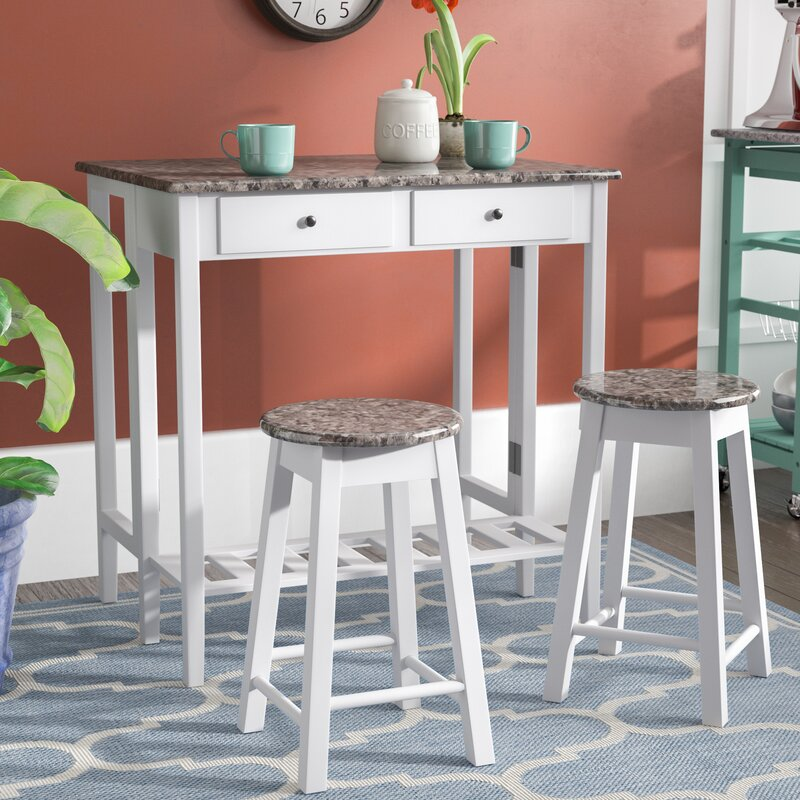 Winston Porter Cardwell Breakfast 3 Piece Dining Table Set & Reviews ...
