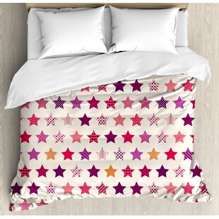 East Urban Home Modern Different Types of Star Shapes with Colorful Polka Dots Geometric Mosaic Ornaments Duvet Set