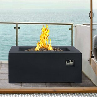 Armen Living Laurel Stainless Steel Propane Fire Pit Table