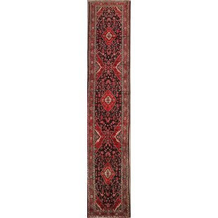 One-of-a-Kind Mclendon Malayer Palace Vintage Persian Medallion Hand-Knotted Runner 3'3 x 16'5 Wool Black/Burgundy Area Rug Isabelline