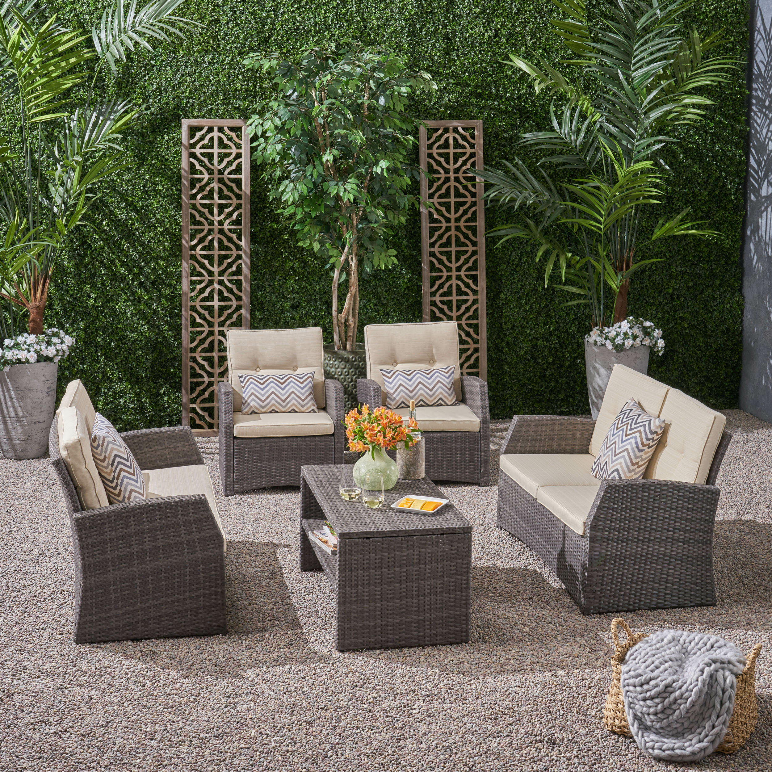 Maxwell Outdoor 5 Piece Sofa Seating Group With Cushions